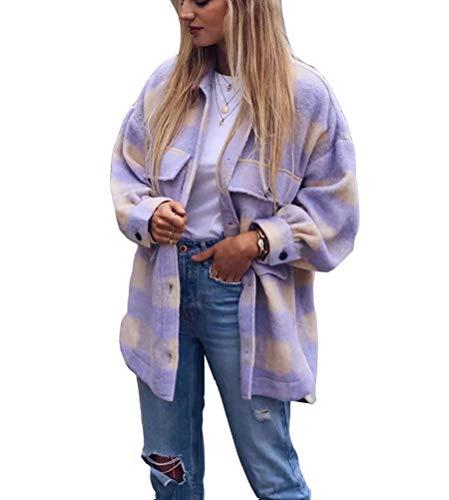 ORANDESIGNE Lila Weiße Kariertes Oversize Bluse Hemdjacke Holzfällerjacke Flanellhemd Jacke Damen Mode B Violett XS