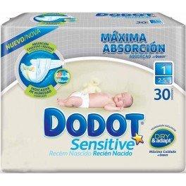 Pañales máxima absorción Dodot Sensitive T1 30 uds