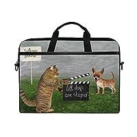 TARTINY 15-15.4インチラップトップバッグ猫はカチンコ犬を保持しますシュートショルダーメッセンジャーバッグスリーブケースタブレットブリーフケース付きハンドルストラップ