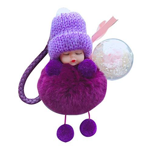 Llavero de coche para bebé, diseño de flor de felpa, para el coche, con colgante de muñeca de bebé, súper lindo, esponjoso, llavero para dormir