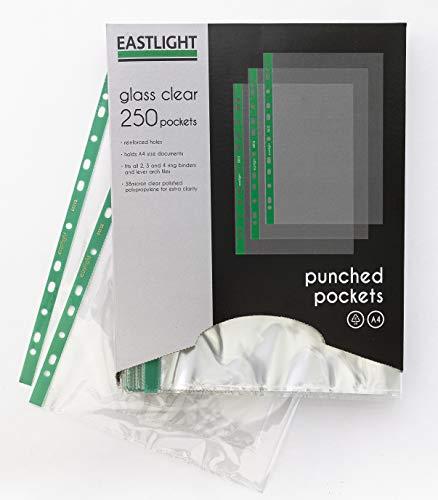 Eastlight Klarsichthüllen, 250er Pack, glasklar, für DIN A4, Economy Qualität 0,035 mm, oben offen, Prospekthüllen, Sichthülle für Ablage Ordner, in praktischer Spenderbox