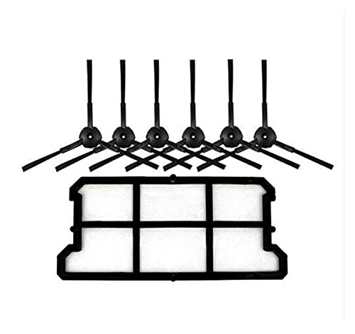 HUAZHUANG-Home Nuevo 1x Filtro HEPA de Polvo + Kit de Cepillo Lateral 6X Ajuste para Ecovacs Deebot Deepoo CR130 Plus CR131 ILIFE V7 Limpiador de Robots