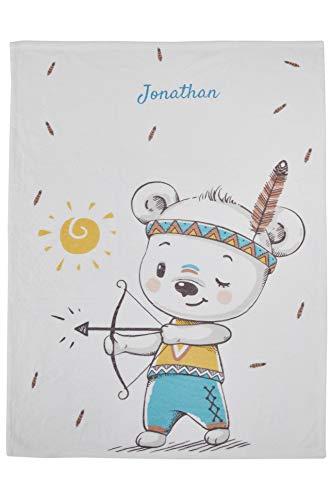 Wolimbo Flausch Babydecke mit Namen kleiner Indianer 75x100 cm