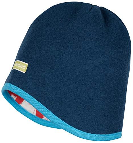 loud + proud Gorro reversible de lana ecológica (kbT), certificado GOTS. azulón 98-104