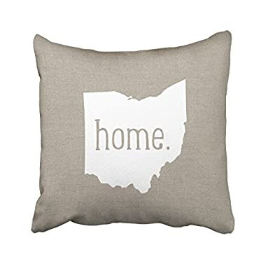 Tarolo Decorative Ohio Home State Cotton Pillow Cover Size 20x20 inches(50x50cm) One Sided