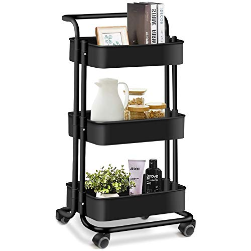 AROVA 3 Tier Rolling Cart Multifunction Storage Cart with Lock Wheels Plastic Basket Easy Assembly Craft Art Utility Cart for Office Home Kitchen Bathroom Organization Black