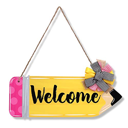teacher sign for doors Back To School Welcome Door Sign Classroom Decorations Thank You Teachers Gift First and Last Day of School Hanging Front Door Classroom Door Hanger with Pen for Customization.