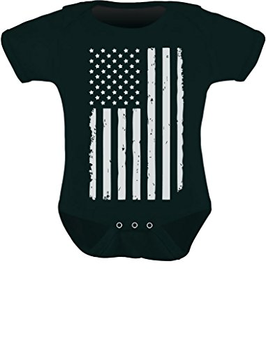 Tstars White Distressed USA Flag Outfit 4th of July American Baby Bodysuit 12M Black