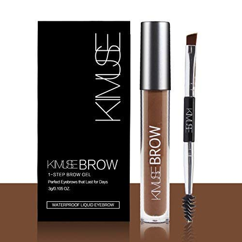 Long- Lasting Eyebrow Gel, Huoju Waterproof Liquid Eyebrow Color with Duo-Head Eyebrow Brush & Create Natural Looking Brows (AUBURN)