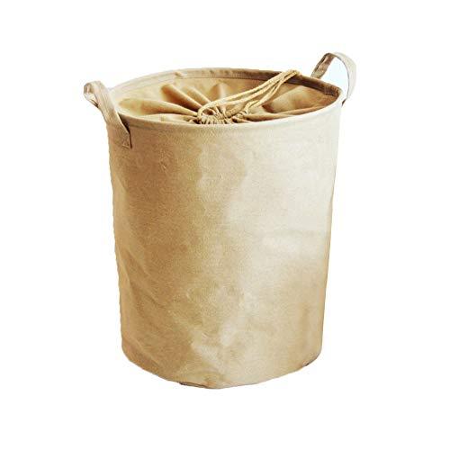Chiffon Panier à Linge Rond, avec poignées Trieuse de Linge Sale Rangement Facile Folding Toile Dortoir de collège pour la Maison-E 33x42cm(13x17inch)