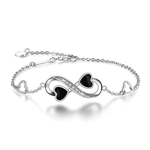 Pulsera Infinity del Amor, Infinito Brazalete de Plata de Ley 925, Pulsera Ajustable para Mujeres (Plata Esterlina 925)