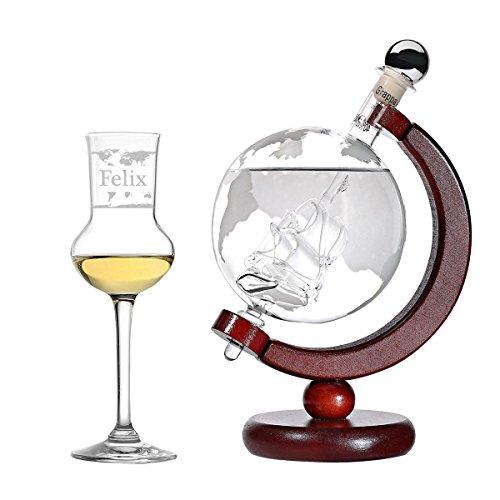polar-effekt Grappa-Set Personalisiert - Flasche Welt Dekanter und Schiff Globus befüllt 500 ml Grappa - Grappaglas 87ml Grappakelch mit Gravur - Geschenkverpackung - Motiv Weltkarte