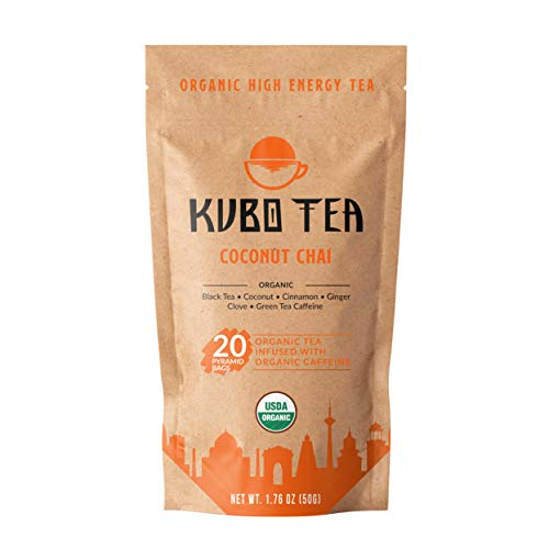 Kubo Tea, Organic High Energy, High Caffeine Blend, 20 Servings (155mg Caffeine each), Pyramid Tea Bags, Kraft Packaging, Brew Hot or Iced, Healthy Coffee Substitute- Coconut Chai Black Tea