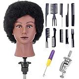 Cabeza de práctica Neverland Afro, 100% cabello humano maniquí cabeza de muñeca para peluqueros, prá...