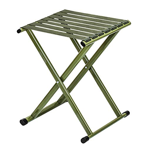 TRIPLE TREE Folding Stool 17.8' Height Heavy Duty Camping Stool Outdoor Portable Chair Hold up to 600 lbs for Walking Hiking Fishing