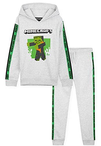 Minecraft Chandal Niño, Conjunto de 2 Piezas Sudadera con Capucha y Pantalon Chandal, Merchandising Oficial, Regalos para Niños y Adolescentes 5-14 Años (Gris, 9-10 años)