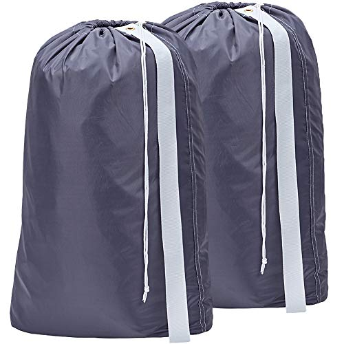HOMEST 2 Pack XL Nylon Laundry Bag with Strap, Machine Washable Large Dirty Clothes Organizer, Easy Fit a Laundry Hamper or Basket, Can Carry Up to 4...