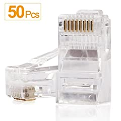 50PCS RJ45 Connectors per Bag-Clear Color 8P8C UTP Solid Crimp Connector Crystal 50 micron Gold Plating Connectors For CAT5 CAT5E CAT6 Solid or Stranded Cable The Internal Cable Cannot be Removed after Being Fixed