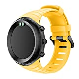 MoreToys Watch Band for Suunto Core, Soft Silicone Replacement Accessory Classic Wristband Wrist Strap Bracelet for Suunto Core Smart Watch (Yellow)