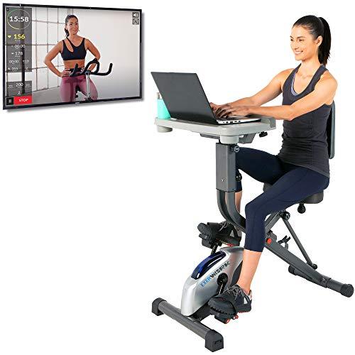 EXERPEUTIC EXERWORK 2000i Bluetooth Folding Exercise Desk Bike with 24 Workout Programs and Free App Iowa