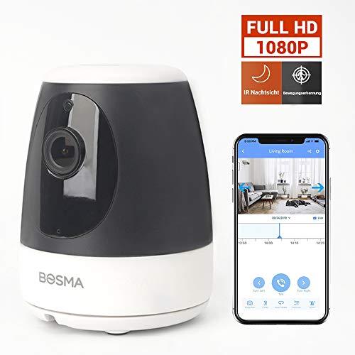 BOSMA Überwachungskamera für Handy WiFi 1080P Haustierkamera Heim- und Babyphone mit Bewegungs- und Tonerkennung, Zwei-Wege-Audio, Unterstützung für Fernalarm und mobile App-Steuerung schwarz
