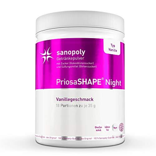 SANOPOLY Priosa® SHAPE Night Vanille 630g I Veganes & sättigendes Eiweißpulver mit Quinoa, Chia-Protein & Reisprotein I Ohne versteckte Zusätze oder Konservierungsstoffe I Energiereduzierendes Eiweiß