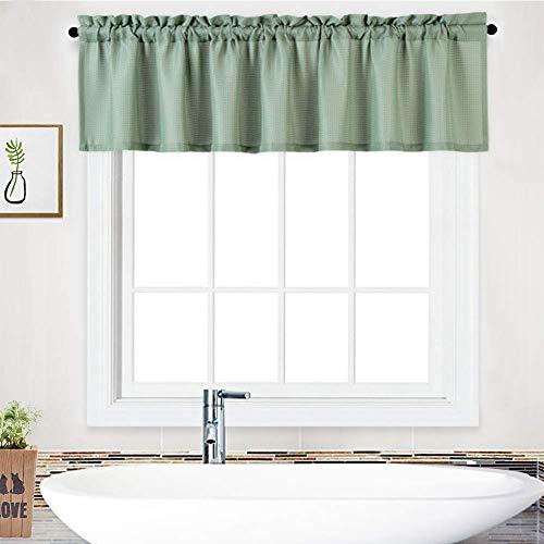 LinTimes, mantovana impermeabile con mantovana per bagno, tenda corta, tenda da cucina, mantovana da caffè, 152,4 x 38,1 cm, salvia, un pannello
