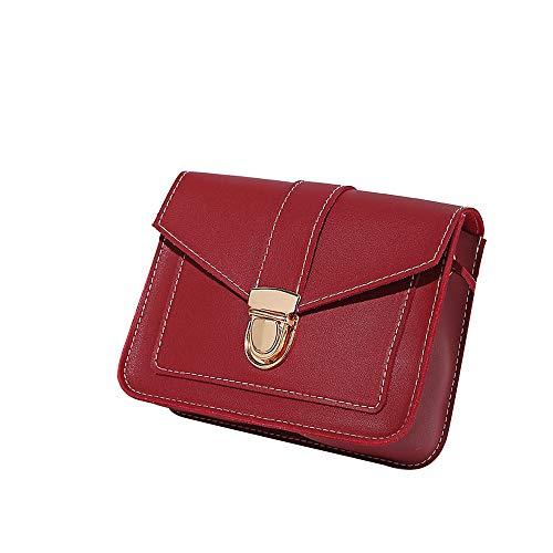 LEXUPE Damenmode reine Farbe Leder Messenger Schultertasche Brusttasche