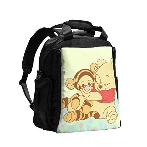 VJSDIUD Winnie The Pooh y Tigger Bolsa de pañales Mochila Momia Mochila de viaje Mochila Hombres Mujeres Regalo