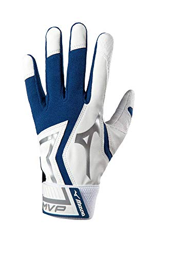 Mizuno MVP Baseball Batting Gloves, Youth Medium, White/Navy