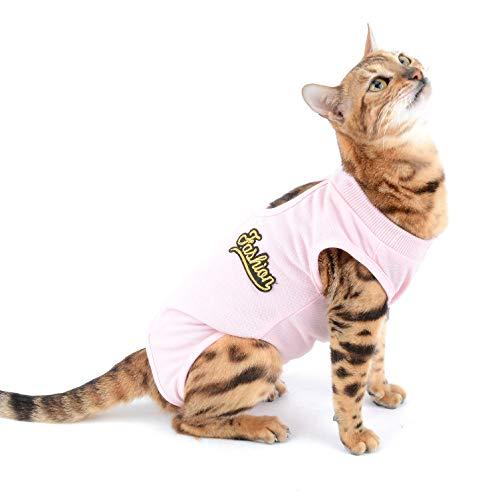 SELMAI Traje de Recuperación para Gato y Perros de Mascota Camiseta de Médico para Cirugía Conos E Alternativos para Enfermedades De La Piel Heridas Anti Lamiendo, Rosado S