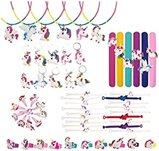 65 Pcs Unicorn Party Favors, Rainbow Unicorn Necklace, Bracelets, Rings, Keychains, Hairpin, Toys Prizes Gifts for Kids, B...