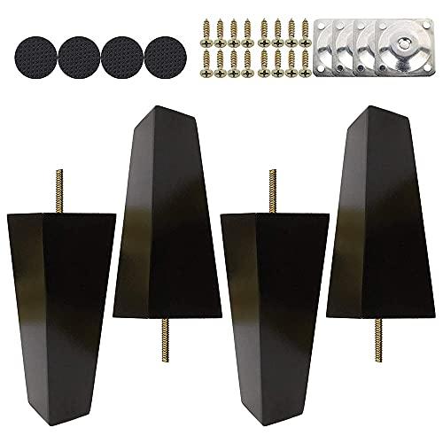 KAMIIN 4 Piezas Patas para Muebles Negro, Patas de Madera Rectas de 6/ 10/ 15 cm con Rosca M8 y Placa de Montaje para Sofá, TV, Armario, Cama, Mesa de Comedor