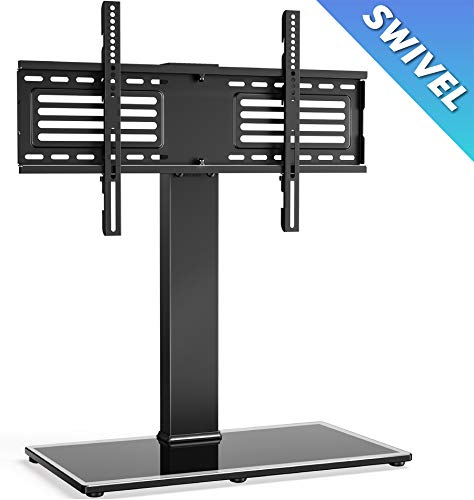 FITUEYES Universal TV Stand/Base Swivel Tabletop TV Stand with Mount for 37 to 75 inch Flat Screen TV 70 Degree Swivel, 6 Level Height Adjustable,Tempered Glass Base,Holds up to 110lbs Screens