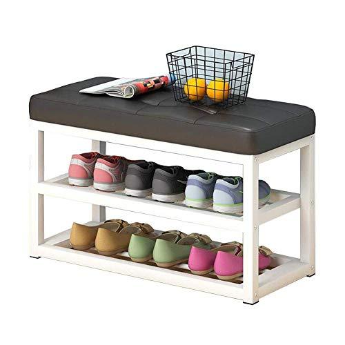 JIEER-C vrijetijdsstoelen, schoenenkast, 2 niveaus, schoenenkast van hout, woonkamer, hal, entree, robuust 60×30×53cm blue