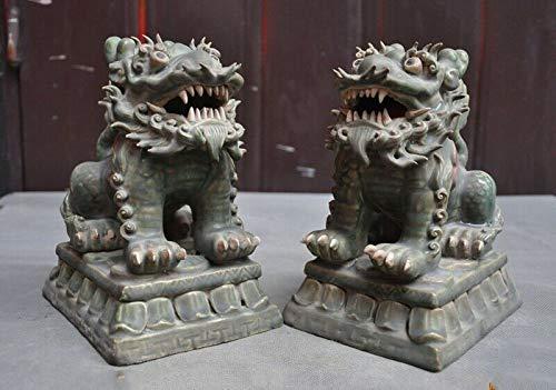 "SIYAO Wedding Decoration 8"" Chinese Pottery WuCai Porcelain Feng Shui Evil Door Guard Fu Foo Dog Lion Pair"