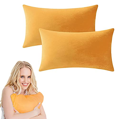 Dodheah Paquete de 2 Terciopelo Funda de Cojine 30x50 Extra Suaves Color sólido Throw Cojín Decoración Almohada Caso Lavable Sofá Cojín Sala Camas Naranja Amarillo