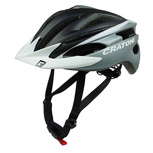 Cratoni Pacer | Casco de Bicicleta | Mujer Hombre Adulto niños | tamaño Adjustable | Negro-Silver Mate - Visera Blanco, L-XL (58-62 cm)