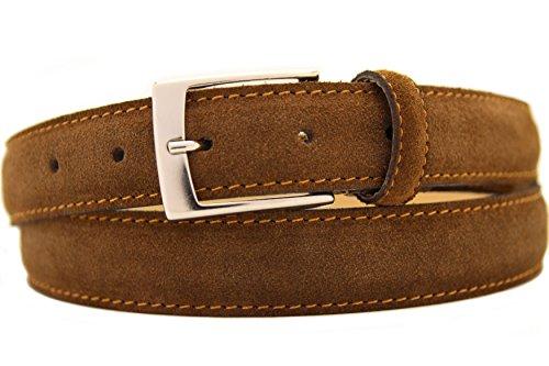 NISAR Italienischer Wildledergürtel Herren Damen Suede Belt Braun UniSex Gürtel 3cm Breit (110cm)