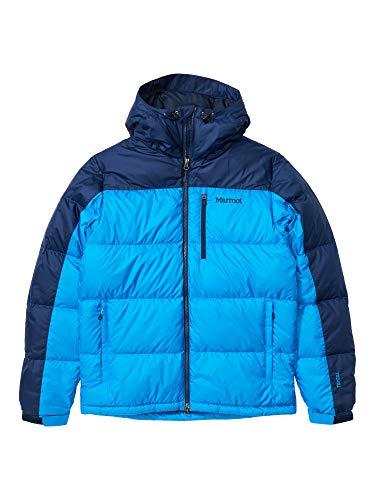 Marmot Guides Down Hoody Chaqueta de plumas aislante ligera, 700 pulgadas cúbicas, chaqueta para exteriores, anorak resistente al agua, resistente al viento, Hombre, Clear Blue/ Arctic Navy, M