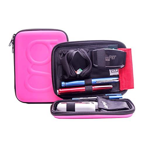 Glucology Diabetiker-Reisetasche - Organizer-Set für Blutzucker-Teststreifen, Medikamente, Glukosemessgerät, Tabletten, Stifte, Insulinspritzen, Nadeln, Lanzetten, Hartschale, Standard, matt, Pink