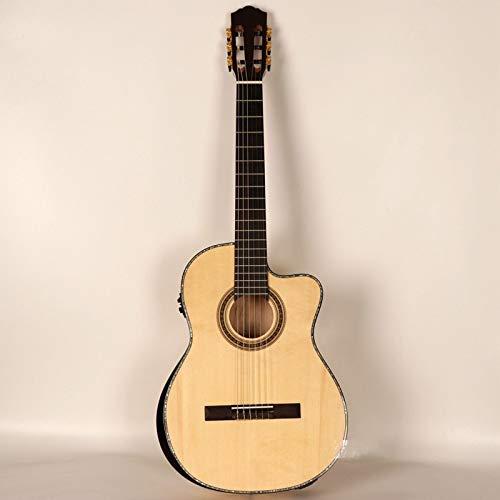 LOIKHGV Guitarras- Color Natural Flame Maple cutway Guitarra clásica Guitarra clásica de Madera Maciza con Esquina Radiante con Ecualizador, Guitarra con Ecualizador, 39 Pulgadas