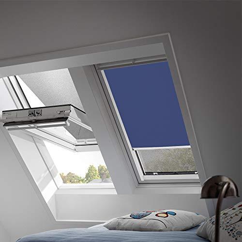 Preisvergleich Produktbild VELUX Original Verdunkelungsrollo für Dachfenster mit weißen Seitenschienen,  FK04,  Uni Blau / DKL FK04 2055SWL