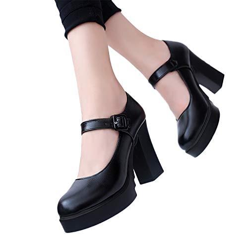 Mujer Bombas Zapatos De Vestir De PU Con Plataforma Zapatos De Tacón Alto Ancho Con Hebillas Bailarinas Vintage Zapatillas De Boda Fiesta De Verano Primavera (Negro, 39)