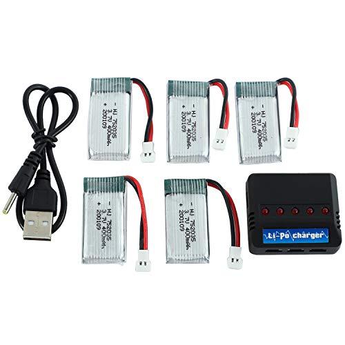 Bayda - Lote de 5 piezas de batería de litio y cargador USB para X4 H107 H107L H107D JD385 JD388 752035
