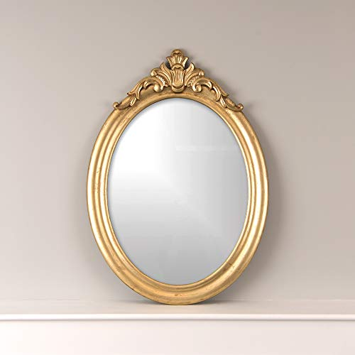 """Best Home Fashion Oval Scroll Top Mirror - Gold Finish Wood Frame - 25"""" W x 33"""" H"""
