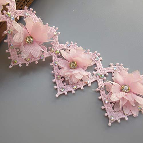 1 Yard 3D Chiffon Flower Diamond Rhinestone Heart Shape Lace Trim Ribbon Edge 5.5cm Width Vintage Style Pink Edging Trimmings Fabric Embroidered Applique Sewing Craft Wedding Bridal Dress Patchwork