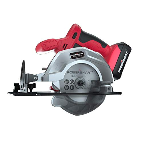 Powersmart 20V Cordless Circular Saw, 5-1/2-inch Power Circular Saw, Includes PowerSmart Lithium Battery and Fast Charger, Color Red and Black, PS76410A