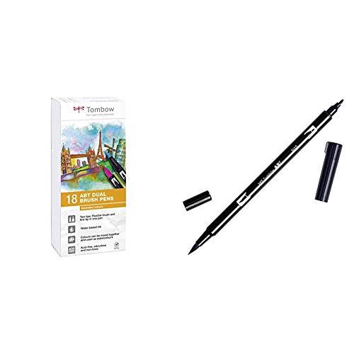 Tombow Pluma ABT-18P-2 Fiber Pen Dual Brush con dos puntas, juego de 18 secundarios + ABT-N15 - Rotulador permanente doble (1 unidad), color negro