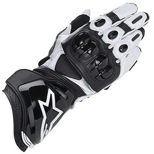 guanti moto alpinestar ZXT Motorcycle Long Gloves Racing Driving Motorbike Guanti Originali in Pelle Bovina (Colore : Black White